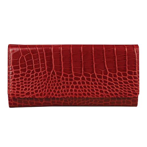 """Портмоне женское FABULA """"Croco Nile"""", натуральная кожа, кнопка, крокодил, 217х105 мм, красное, PJ.154.KR"""