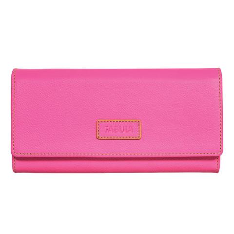 """Портмоне женское FABULA """"Ultra"""", натуральная кожа, кнопка, 95х192 мм, розовое, PJ.149.FP"""