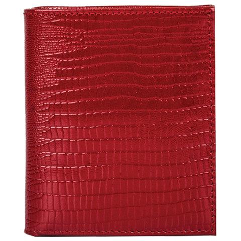 Портмоне женское FABULA, 90х100 мм, натуральная кожа, скрытая кнопка, ящерица, красное, PJ.177.КК
