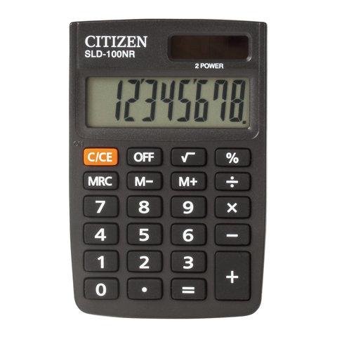 Калькулятор карманный CITIZEN SLD-100NR (90х60 мм), 8 разрядов, двойное питание