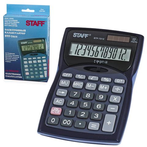 Калькулятор STAFF настольный STF-7212, 12 разрядов, двойное питание, 150х100мм