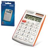 Калькулятор CITIZEN карманный SLD-322RG, 10 разрядов, двойное питание, 105х64 мм, белый/оранжевый