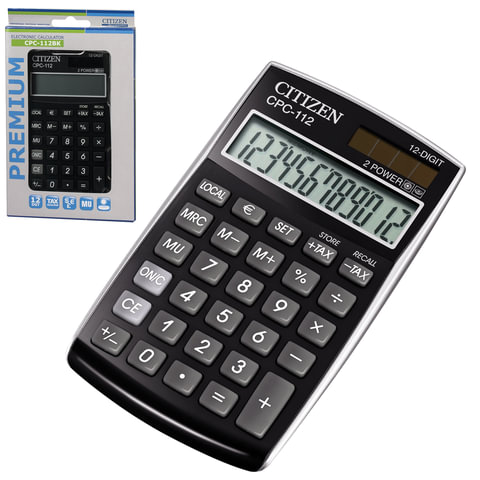 Калькулятор CITIZEN карманный CPC-112BKWB, 12 разрядов, двойное питание, 120х72 мм, черный