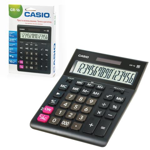 Калькулятор CASIO настольный GR-16-W, 16 разрядов, двойное питание, 209х155 мм, европодвес, черный, GR-16-W-EP