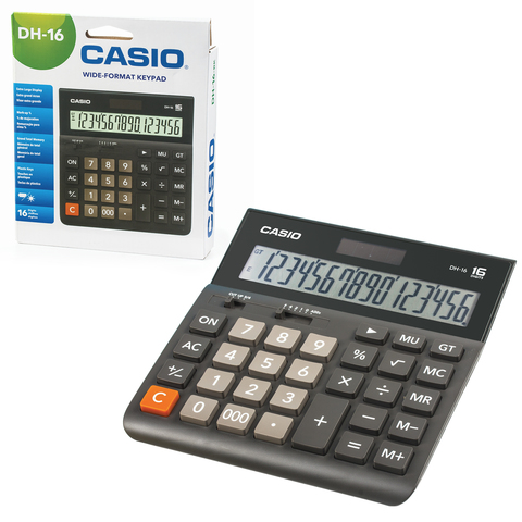 Калькулятор CASIO настольный DH-16-BK-S, 16 разрядов, двойное питание, 159х151 мм, европодвес, черный/серый, DH-16-BK-S-EP