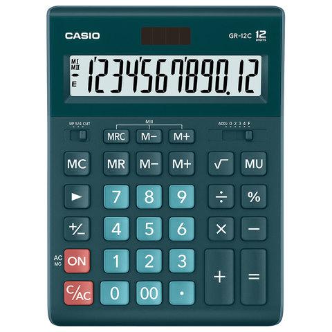 Калькулятор настольный CASIO GR-12С-DG (210х155 мм), 12 разрядов, двойное питание, ТЕМНО-ЗЕЛЕНЫЙ, GR-12C-DG-W-EP