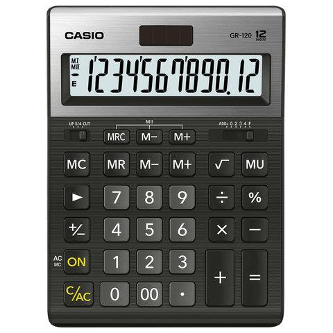 Калькулятор настольный CASIO GR-120-W (210х155 мм), 12 разрядов, двойное питание, черный, МЕТАЛЛИЧЕСКАЯ ВЕРХЯЯ ПАНЕЛЬ, GR-120-W-EP