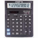 Калькулятор настольный STAFF STF-777, 12 разрядов, двойное питание, 210x165 мм, ЧЕРНЫЙ
