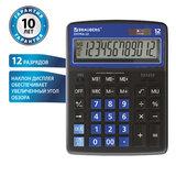 Калькулятор настольный BRAUBERG EXTRA-12-BKBU (206x155 мм), 12 разрядов, двойное питание, ЧЕРНО-СИНИЙ, 250472