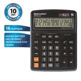 Калькулятор настольный BRAUBERG EXTRA-16-BK (206x155 мм), 16 разрядов, двойное питание, ЧЕРНЫЙ, 250475