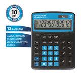 Калькулятор настольный BRAUBERG EXTRA COLOR-12-BKBU (206x155 мм), 12 разрядов, двойное питание, ЧЕРНО-ГОЛУБОЙ, 250476