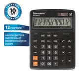 Калькулятор настольный BRAUBERG EXTRA-12-BK (206x155 мм), 12 разрядов, двойное питание, ЧЕРНЫЙ, 250481