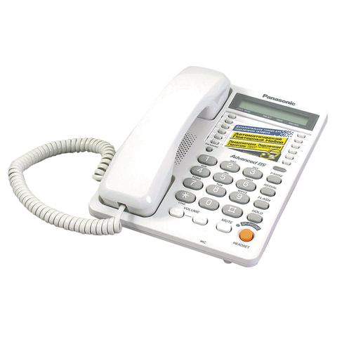 Телефон PANASONIC KX-TS2365RUW, память на 30 номеров, ЖК-дисплей с часами, автодозвон, спикерфон, KX-T2365