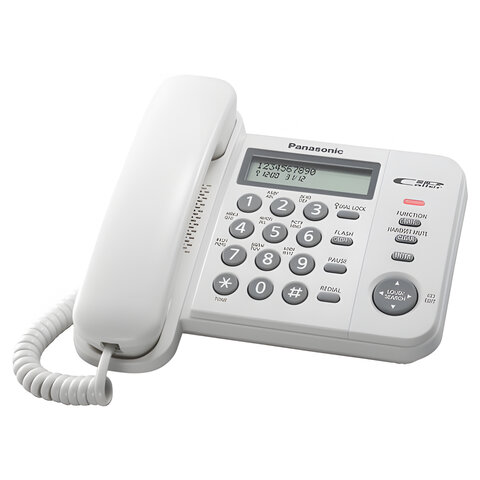 Телефон PANASONIC KX-TS2356RUW, белый, память 50 номеров, АОН, ЖК дисплей с часами, тональный/импульсный режим