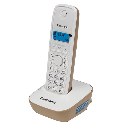 Радиотелефон PANASONIC KX-TG1611RUJ, память на 50 номеров, АОН, повторный набор, часы/будильник, бежевый
