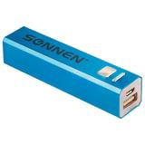 Аккумулятор внешний SONNEN POWERBANK V61С, 2600 mAh, литий-ионный, синий, алюминиевый, 262747
