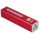 Аккумулятор внешний SONNEN POWERBANK V61С, 2600 mAh, литий-ионный, красный, алюминиевый корпус, 262748