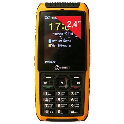 "Телефон мобильный SENSEIT P101, 2 SIM, 2,4"", MicroSD, ударопрочный, водонепроницаемый, желтый, P101 жёлтый"