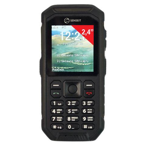 """Телефон мобильный SENSEIT P300, 2 SIM, 2,4"""", MicroSD, рация, ударопрочный, влагозащищенный, черный, P300 чёрный"""