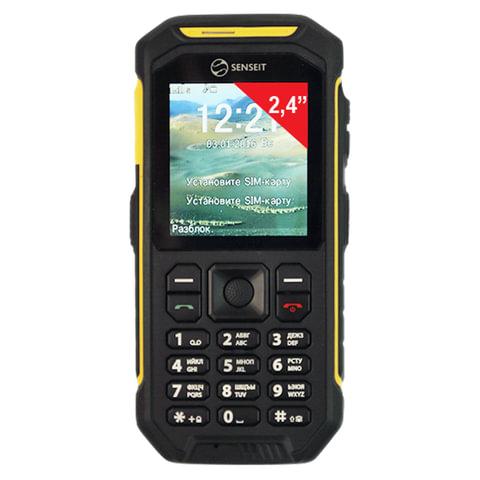 """Телефон мобильный SENSEIT P300, 2 SIM, 2,4"""", MicroSD, рация, ударопрочный, влагозащищенный, желтый, P300 жёлтый"""