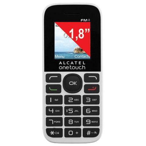"""Телефон мобильный ALCATEL One Touch 1016D, 2 SIM, 1,8"""", белый, 1016D-3BALRU1"""