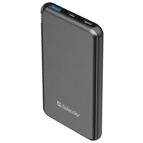 Аккумулятор внешний DEFENDER EXTRALIFE Fast 10000D, 10000 mAh, 1 USB/1 Type-C, Li-pol, серый, 83664