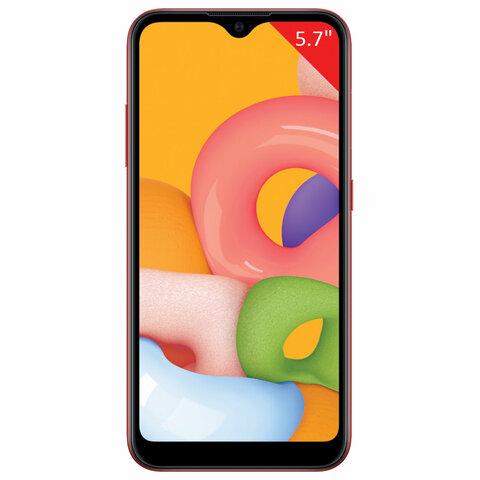 """Смартфон SAMSUNG GalaxyA01, 2 SIM, 5,7"""", 4G (LTE), 5/13 + 2 Мп, 16 ГБ, красный, пластик, SM-A015FZRDSER"""