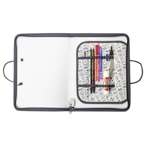 Папка для труда с ручками ПИФАГОР А4, пластик, молния вокруг, органайзер,