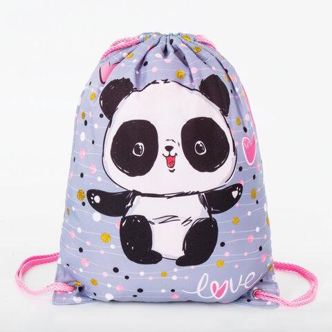 Мешок для обуви BRAUBERG PREMIUM, карман, подкладка, 43х33 см, Funny panda, 270281