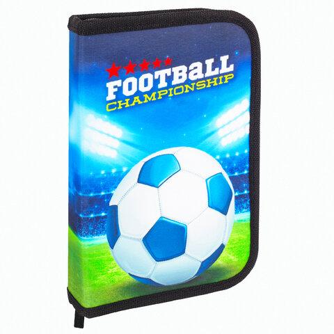 """Пенал BRAUBERG, 1 отделение, 1 откидная планка, полиэстер, 21х14 см, """"Football champion"""", 270309"""