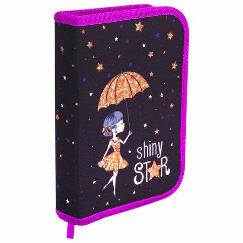 """Пенал BRAUBERG, 1 отделение, 2 откидные планки, полиэстер, 21х14 см, """"Shiny star"""", 270312"""
