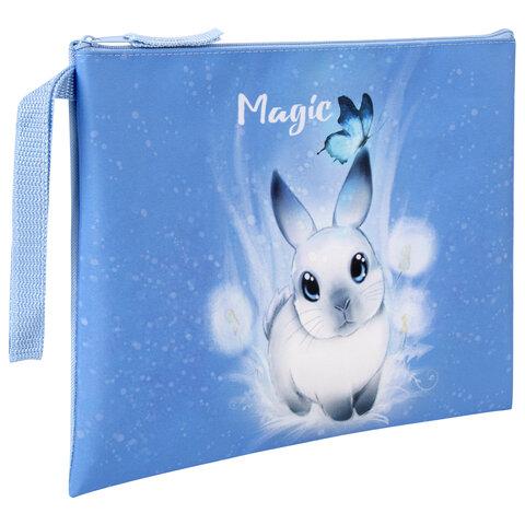 """Папка для тетрадей BRAUBERG А5, 1 отделение, ткань, молния сверху, с ручкой, """"Magic Rabbit"""", 270340"""