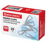 Скрепки BRAUBERG, 25 мм, никелированные, треугольные, 100 шт., в картонной коробке, 270440