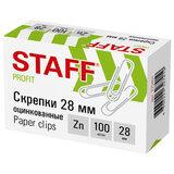 Скрепки STAFF, 28 мм, оцинкованные, 100 шт., в картонной коробке, 270451