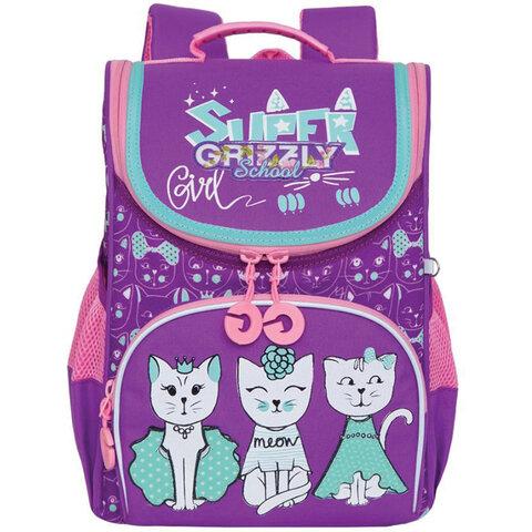"""Ранец GRIZZLY школьный, анатомическая спинка, на ножках, для девочек, """"CATS"""", 33х25х13 см, RAm-084-1/2"""