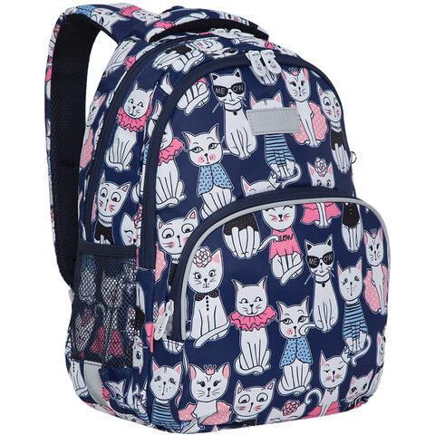 """Рюкзак GRIZZLY школьный, анатомическая спинка, карман для ноутбука, для девочек, """"Мяу"""", 40х27х20 см, RG-160-4/1"""