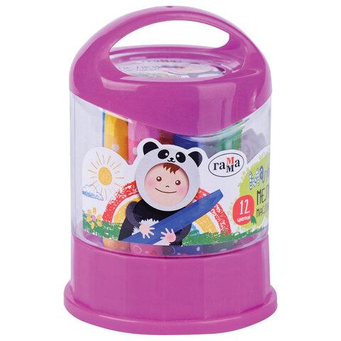 "Масляные мелки ГАММА ""Малыш"" 12 цветов, 11х75 мм, шестигранные, пластиковый стакан-подставка, 051218_01"