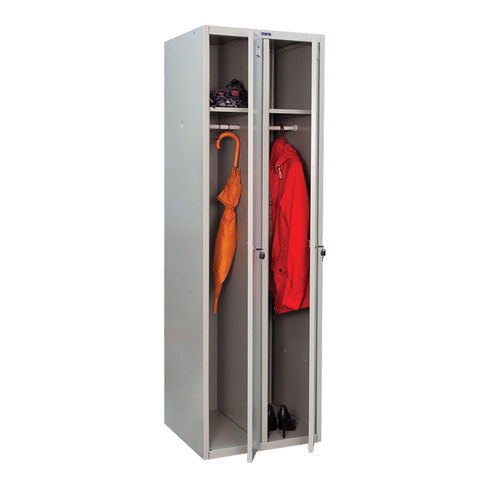 """Шкаф металлический для одежды ПРАКТИК """"LE-21C"""" (в сборе), двухсекционный, 1830х575х500 мм, 29 кг"""