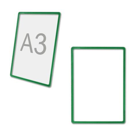 Рамка-POS для ценников, рекламы и объявлений А3, зеленая, без защитного экрана, 290257