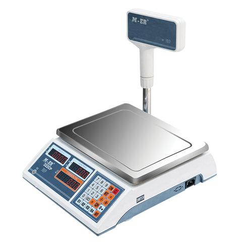 Весы торговые MERCURY M-ER 322ACPX-15.2 LED (0,04-15 кг), дискретность 5 г, платформа 315x235 мм, со стойкой, 322ACPX-15.2LED