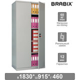 """Шкаф металлический офисный BRABIX """"MK 18/91/46"""", 1830х915х460 мм, 47 кг, 4 полки, разборный, 291136, S204BR180202"""