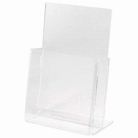 Подставка настольная для рекламных материалов (160x115х32 мм), для узких буклетов, STAFF, 291171