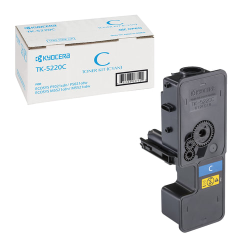 Тонер-картридж KYOCERA (TK-5220C) ECOSYS P5021cdn/cdw/M5521cdn/cdw, голубой, ресурс 1200 стр., оригинальный, 1T02R9CNL1
