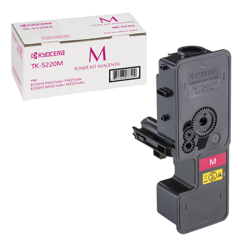 Тонер-картридж KYOCERA (TK-5220M) ECOSYS P5021cdn/cdw/M5521cdn/cdw, пурпурный, ресурс 1200 стр., оригинальный, 1T02R9BNL1