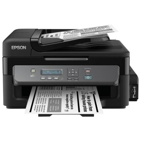 МФУ струйное EPSON M205 (принтер, сканер, копир), A4, 1440x720 dpi, 34 стр./мин, АПД, Wi-Fi, с СНПЧ (без кабеля USB), C11CD07401