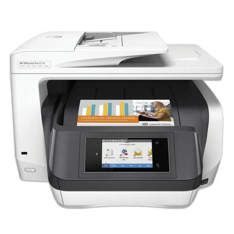 МФУ струйное HP OfficeJet Pro 8730 (принтер, сканер, копир, факс), A4, 2400х600, 24 стр./мин, ДУПЛЕКС, АПД, Wi-Fi, с/к, D9L20A
