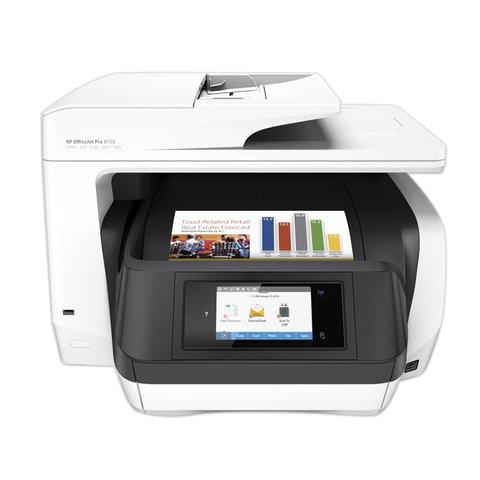 МФУ струйное HP OfficeJet Pro 8720 (принтер, сканер, копир, факс), А4, 4800х1200, 24 стр./мин, 30000 стр/мес ДУПЛЕКС АПД Wi-Fi с/к, D9L19A