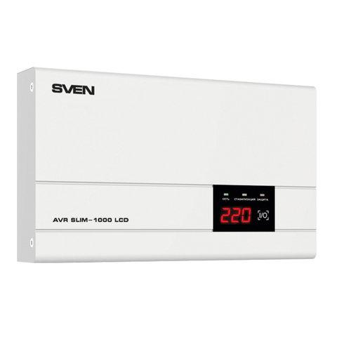 Стабилизатор напряжения SVEN AVR SLIM-1000,1000ВА/800Вт, 1 розетка, входное напряжение 140-260 В, SV-012816