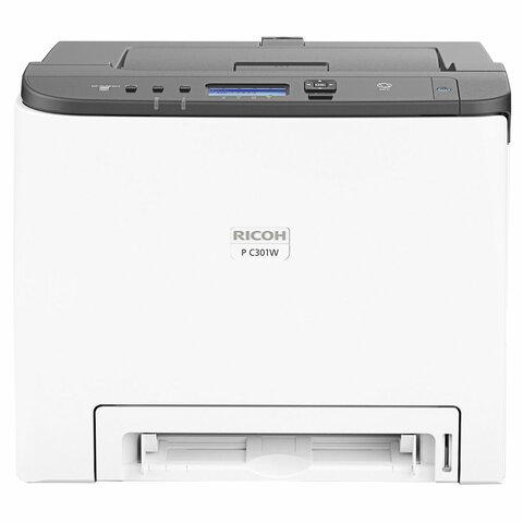 Принтер лазерный ЦВЕТНОЙ RICOH P C301W, А4, 25 стр/мин, ДУПЛЕКС, WiFi, NFC, сетевая карта, 408335