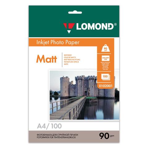 Фотобумага LOMOND для струйной печати, А4, 90 г/м<sup>2</sup>, 100 л., односторонняя, матовая, 0102001